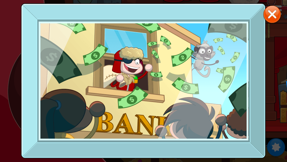 The Baron and Ack showering Poptropicans with money