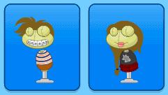 L: Bookworm Kid costume; R: Fashionista Prep costume