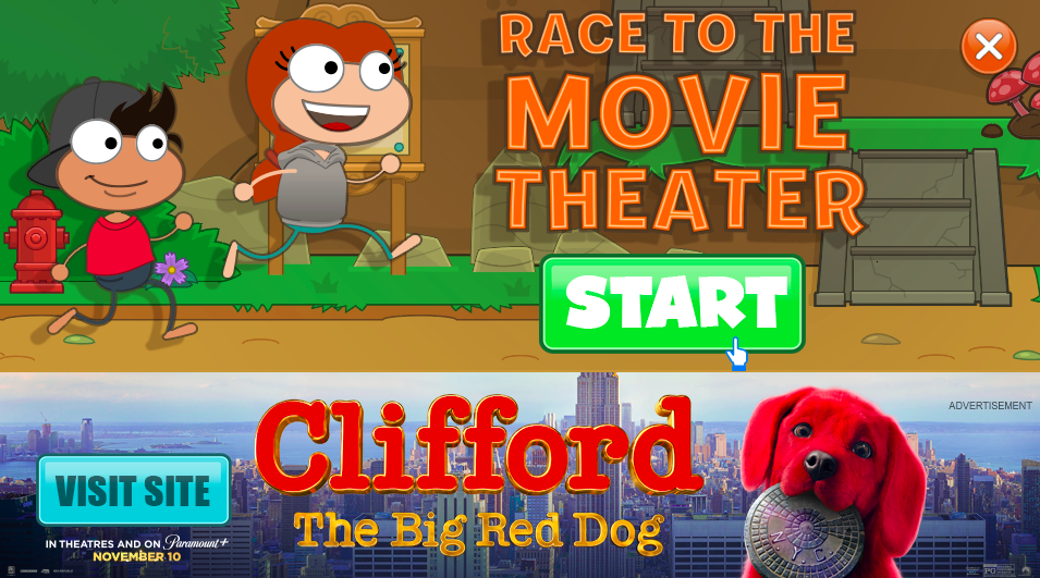 Race to the movie theater minigame
