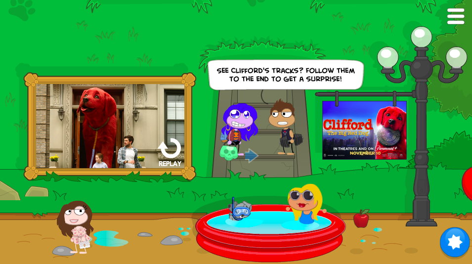 Follow Clifford's tracks to the surprise!