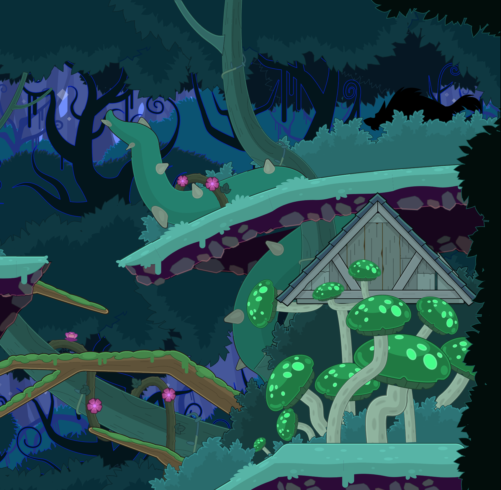Close up view of Poptropica Fairy Tale Island with vines