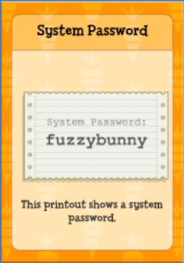 System Password: Fuzzy Bunny