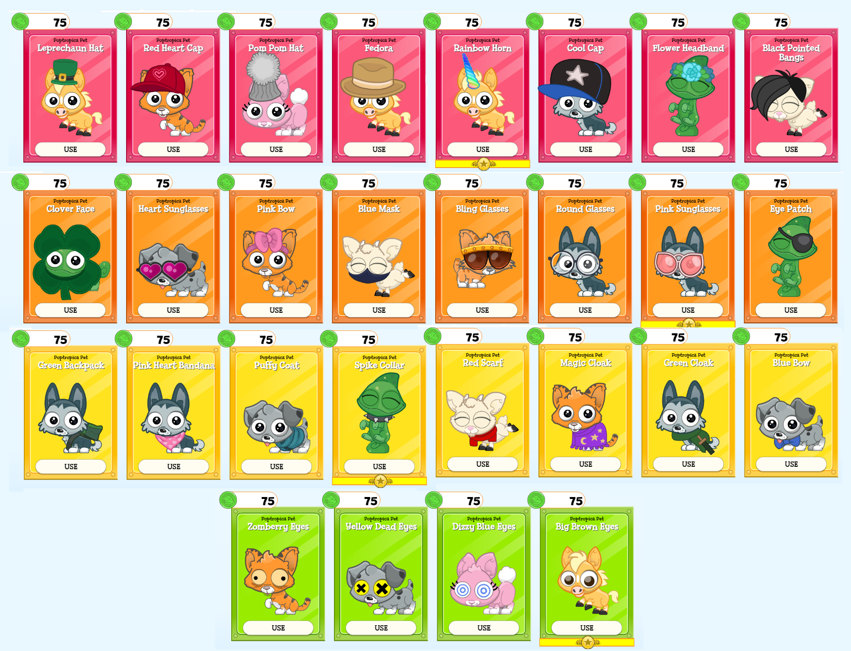 Poptropica March Pet Items