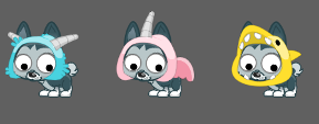 Pets: Fuzzy Monster, Bubble Gum Unicorn, and Lemon Shark costumes