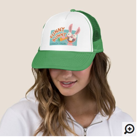 Zazzle Hat Model for Funny Bunny Hat
