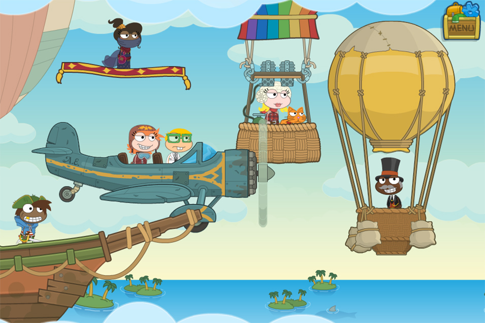 Characters from Poptropica in a Hot Air Balloon race