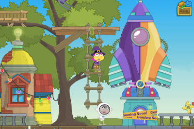 Poptropica characters in front of the spaceship arcade