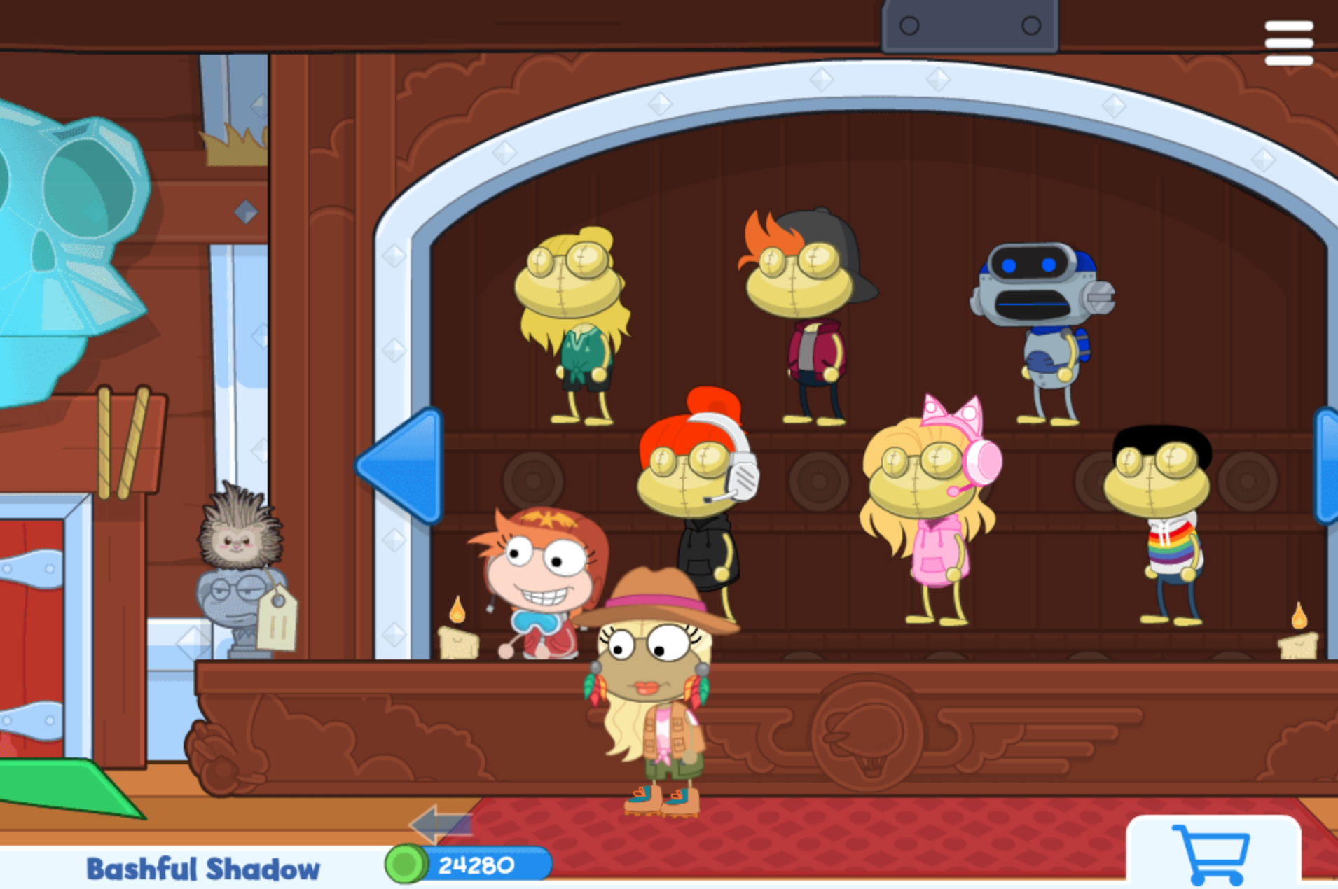 Poptropica store interior with characters
