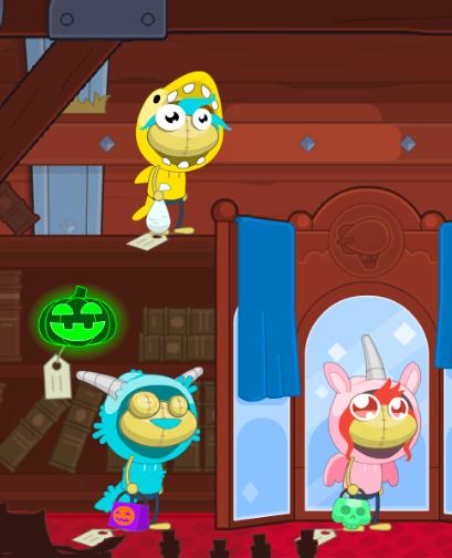 Lemon Shark, Fuzzy Monster, and Bubble Gum Unicorn costumes