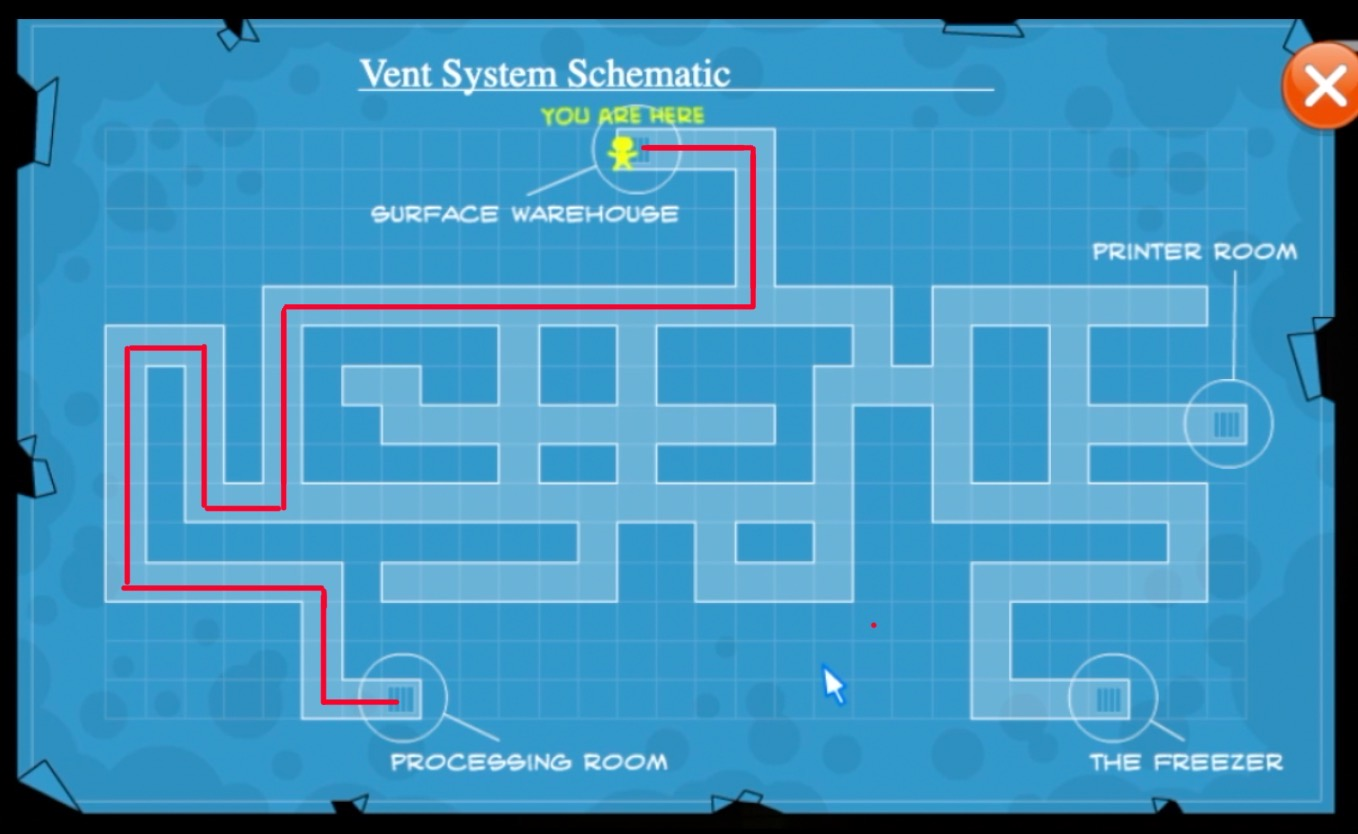 Warehouse to Processing Room - Vent Map